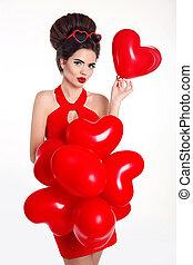 cuore, donna, hairstyle., brunetta, trucco, isolato, allegro, fondo., balloon, proposta, sexy, studio, modello, vestire, bianco rosso