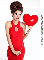 cuore, donna, hairstyle., brunetta, trucco, modello, giovane, isolato, fondo., balloon, studio, carino, proposta, bianco, sorridente, rosso