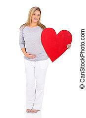 cuore, donna, incinta, simbolo, giovane, presa a terra