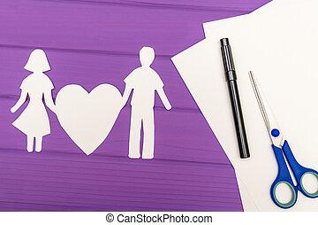 cuore, donna, silhouette, carta, presa a terra, uomo