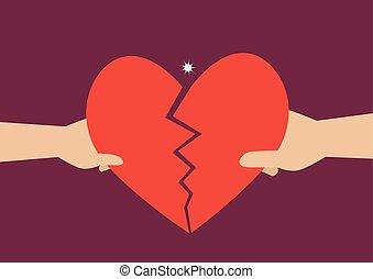 cuore, donna, simbolo, mano, uomo, strappo, separatamente