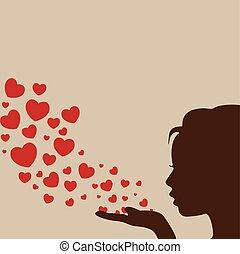 cuore, donna, vettore, soffiando
