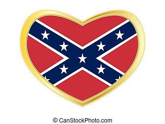 cuore, dorato, cornice, bandiera, forma, ribelle, confederato