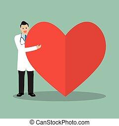 cuore, dottore, presentare, grande