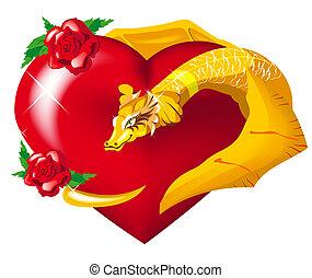 cuore, drago, oro, abbraccia
