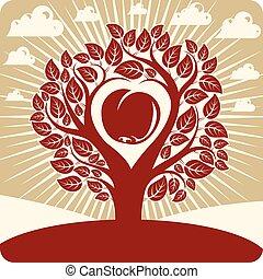 cuore, ecologia, amore, mela, maternità, albero, idea, illustrazione, dentro, stilizzato, tema, forma, vettore, sun., nubi, illustration., rami, paesaggio, image.