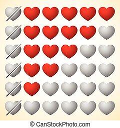 cuore, elements., valutazione, zero, hearts., cinque