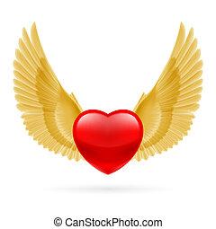 cuore, elevato, ali