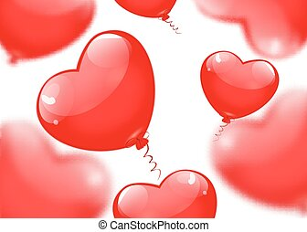 cuore, eps10., isolato, fondo., forma, vettore, bianco, palloni, rosso