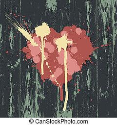 cuore, eps10, legno, simbolo, wall., vettore