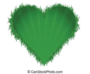 cuore, erba, verde, illustrazione