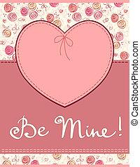 cuore, etichetta, tessile, vettore, rosa
