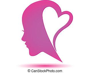 cuore, faccia, donna, logotipo