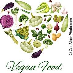 cuore, fagiolo, verdura, fungo, manifesto