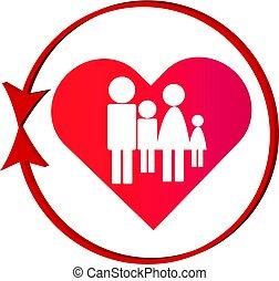 cuore, famiglia, simbolo, isolato, fondo, bianco, astratto, rosso