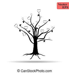cuore, fare, albero, icons., nero, bianco