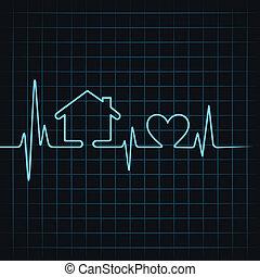 cuore, fare, battito cardiaco, casa