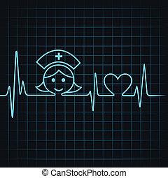cuore, fare, battito cardiaco, infermiera, faccia