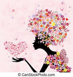cuore, farfalle, moda, fiori, ragazza