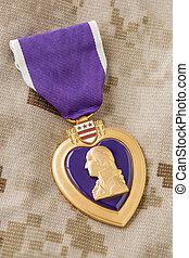 cuore, fatiche, viola, posa, militare, medaglia