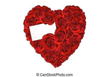 cuore, fatto, amore, rose, messaggio bianco, scheda