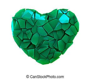 cuore, fatto, colorare, simbolo, isolato, illustrazione, plastica, rotto, verde bianco, 3d