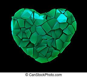 cuore, fatto, colorare, simbolo, isolato, illustrazione, plastica, rotto, verde, nero, 3d