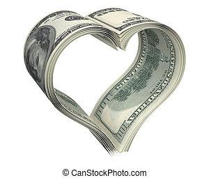 cuore, fatto, dollaro, carte, pochi