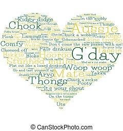 cuore, fatto, format., vettore, parole, australiano, slang