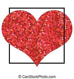 cuore, fatto, square., valentines, pixel, sfondo nero, giorno, rosso