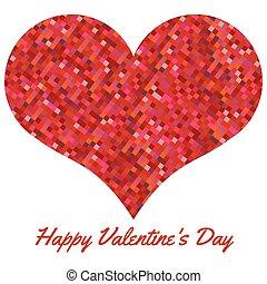 cuore, fatto, valentines, fondo, pixels., giorno, rosso
