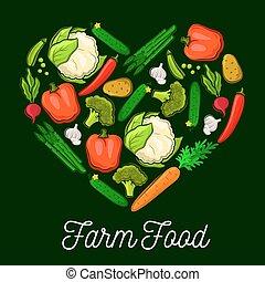 cuore, fattoria, manifesto, verdura, cibo, vettore