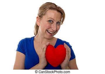 cuore, femmina, lei, mani