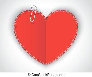 cuore, fermaglio carta