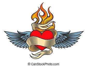 cuore, fiammeggiante, ali