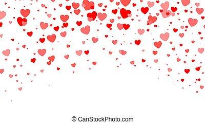 cuore, fidanzato, halftone, fondo., vettore, illustrazione, cuori, giorno, rosso, white.
