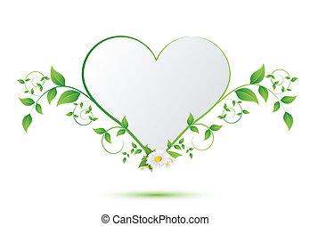 cuore, fiore, camomilla, foglie, forma, verde