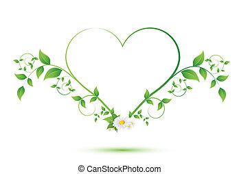 cuore, fiore, foglie, forma, verde, camomilla