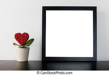 cuore, fiore, foto, vaso, valentines, vuoto, cornice