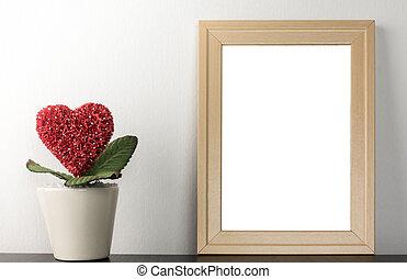 cuore, fiore, romantico, foto, coppia, sposato, vuoto, fotografia, amante, vaso, cornice