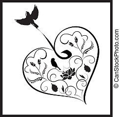 cuore, fiori, 2, uccelli