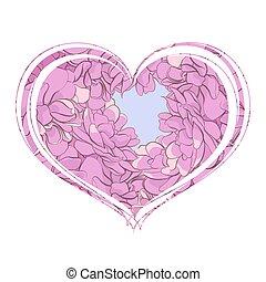 cuore, fiori bianchi, fondo, viola