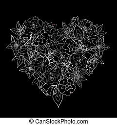 cuore, fiori, fatto