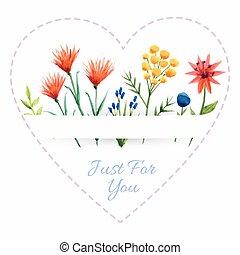 cuore, fiori, fondo