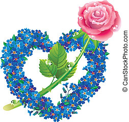 cuore, fiori, forget-me-with, rosa