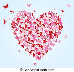 cuore, fiori, vettore, illustrazione, butterflies.