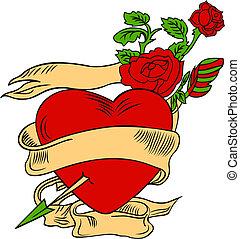 cuore, flores, illustrazione