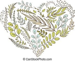 cuore, foglie