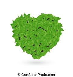 cuore, foglie, verde, forma, albero
