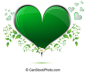 cuore, foglie, verde, forma